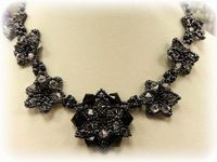 Pretty Petals Beadwork Necklace Jewellery Making Kit with SWAROVSKI® ELEMENTS Black & Silver Tones